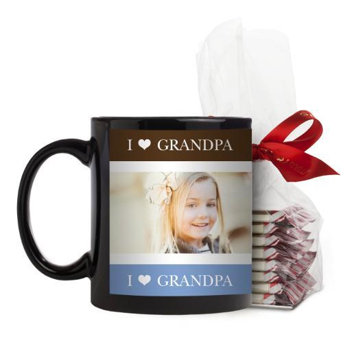 I Heart Grandpa Mug, Black, with Ghirardelli Peppermint Bark, 11 oz, Brown