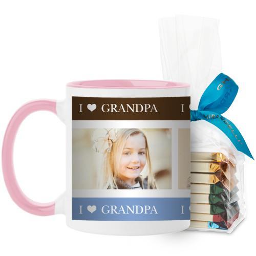 I Heart Grandpa Mug, Pink, with Ghirardelli Assorted Squares, 11oz, Brown