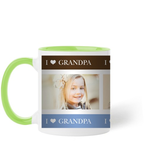 I Heart Grandpa Mug, Green,  , 11 oz, Brown