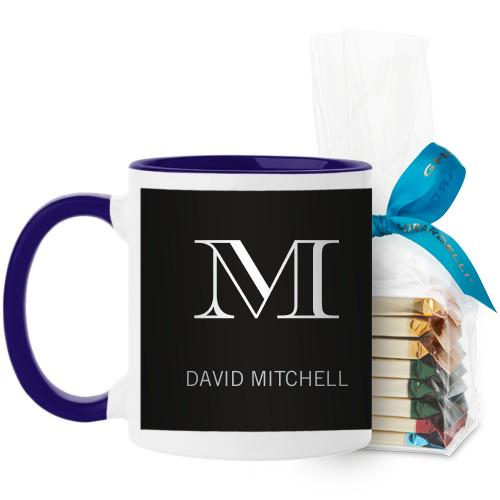 Monogram Black Mug, Blue, with Ghirardelli Assorted Squares, 11 oz, Black
