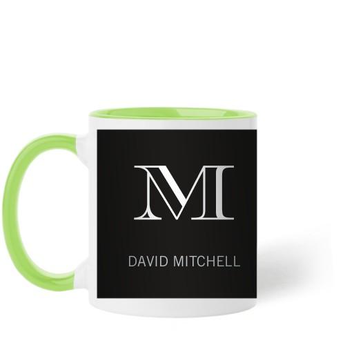 Monogram Black Mug, Green,  , 11 oz, Black