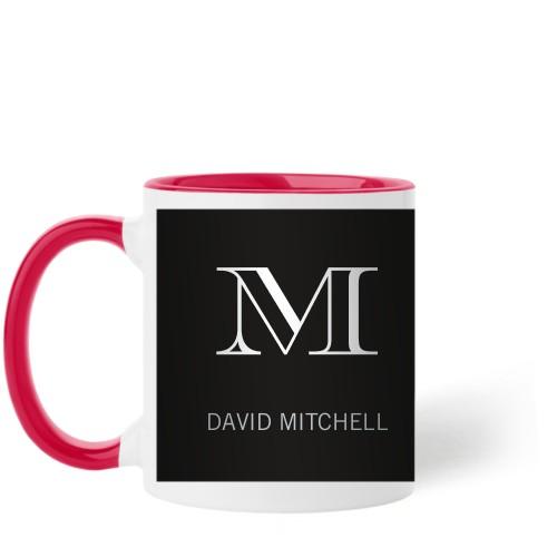 Monogram Black Mug, Red,  , 11 oz, Black