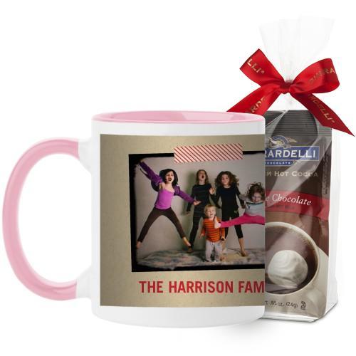 Washi Tape Frame Mug, Pink, with Ghirardelli Premium Hot Cocoa, 11 oz, Beige