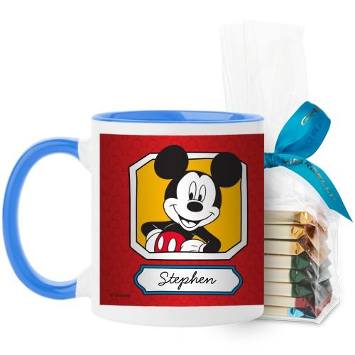 Disney Mickey And Friends Mug, Light Blue, with Ghirardelli Assorted Squares, 11 oz, Red
