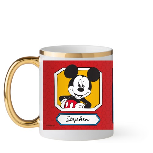 Disney Mickey And Friends Mug, Gold Handle,  , 11oz, Red