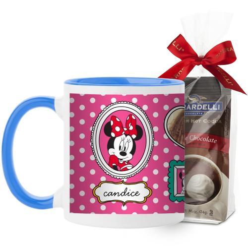 Disney Minnie And Friends Mug, Light Blue, with Ghirardelli Premium Hot Cocoa, 11 oz, Pink