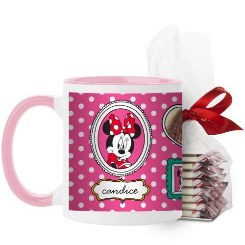Disney Minnie And Friends Mug, Pink, with Ghirardelli Peppermint Bark, 11 oz, Pink