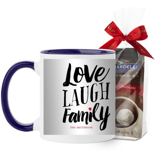 Love Laugh Family Mug, Blue, with Ghirardelli Premium Hot Cocoa, 11 oz, Grey