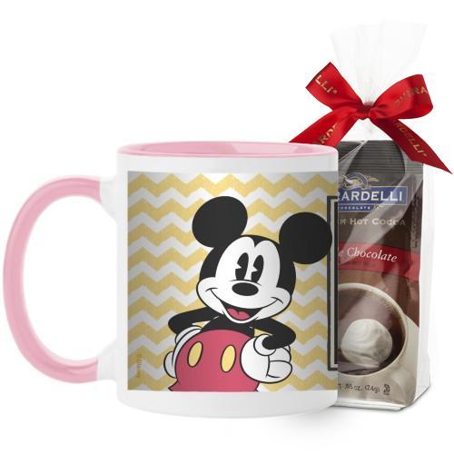 Disney Vintage Mickey Mug, Pink, with Ghirardelli Premium Hot Cocoa, 11 oz, Yellow