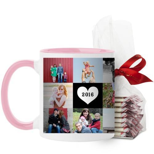 Love Grid Mug, Pink, with Ghirardelli Peppermint Bark, 11 oz, Black