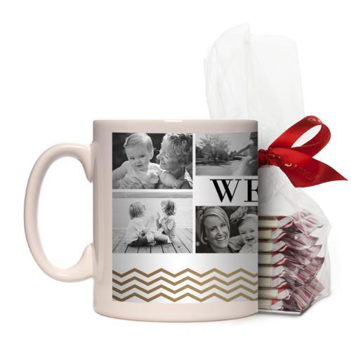 We Love Mom Chevron Border Mug, White, with Ghirardelli Peppermint Bark, 11 oz, goldfoil
