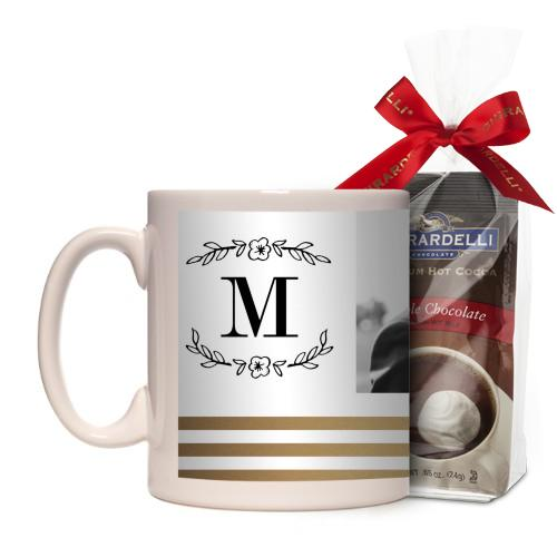 Flourish Striped Border Mug, White, with Ghirardelli Premium Hot Cocoa, 11 oz, goldfoil