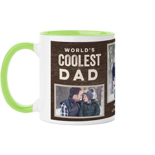 Coolest Dad Mug, Green,  , 11 oz, Brown