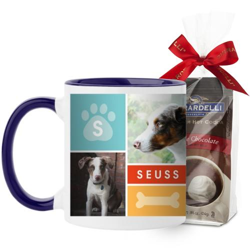 Colorful Pet Collage Mug, Blue, with Ghirardelli Premium Hot Cocoa, 11 oz, Red