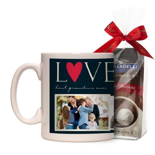 Love Collage Mug, White, with Ghirardelli Premium Hot Cocoa, 11 oz, Black