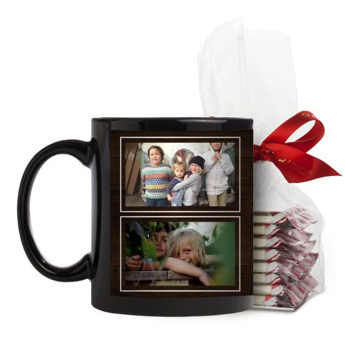 Your Own Words Mug, Black, with Ghirardelli Peppermint Bark, 11 oz, Brown