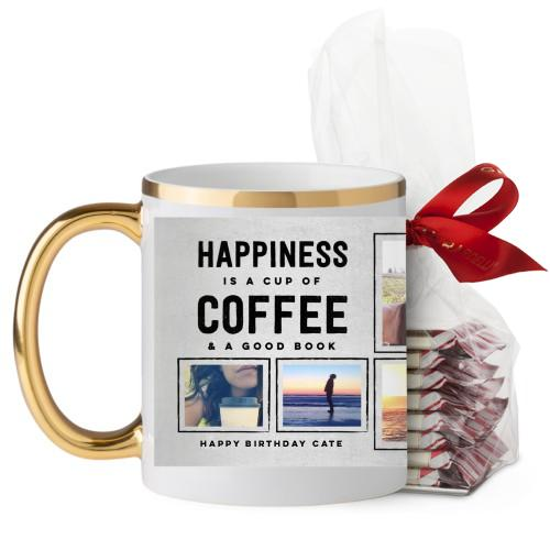 Happiness Is Mug, Gold Handle, with Ghirardelli Peppermint Bark, 11oz, Grey