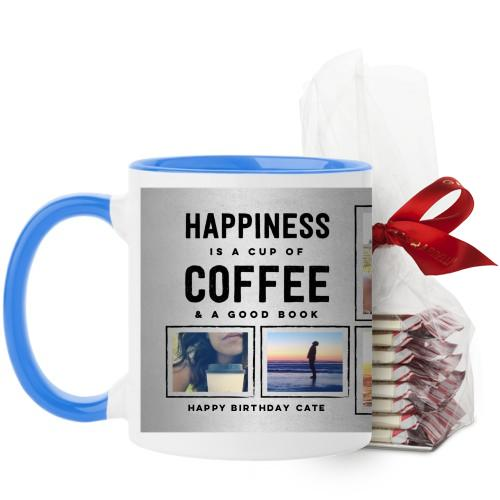 Happiness Is Mug, Light Blue, with Ghirardelli Peppermint Bark, 11 oz, Grey