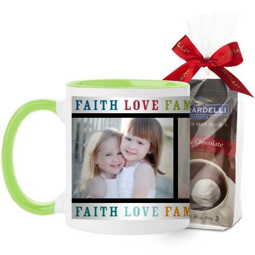 Faith Love Family Mug, Green, with Ghirardelli Premium Hot Cocoa, 11oz, Multicolor