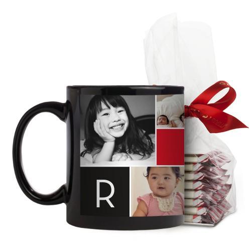 Monogram Memories Mug, Black, with Ghirardelli Peppermint Bark, 11oz, Red