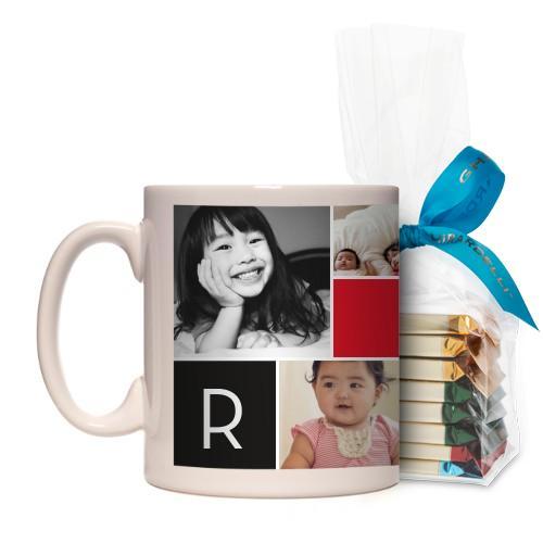 Monogram Memories Mug, White, with Ghirardelli Assorted Squares, 11 oz, Red