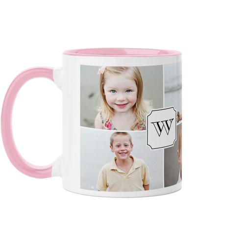 Traditional Monogram Mug, Pink,  , 11 oz, White