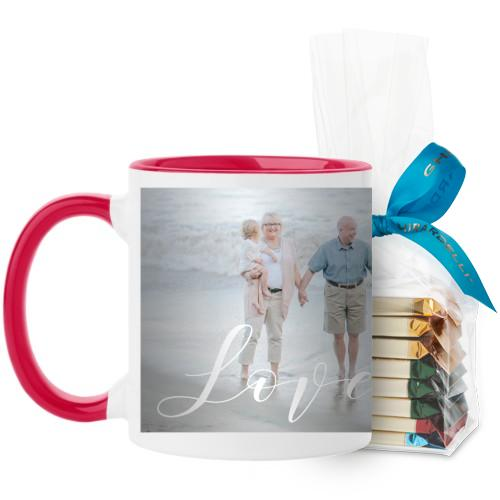 Love Brushed Mug, Red, with Ghirardelli Assorted Squares, 11 oz, White