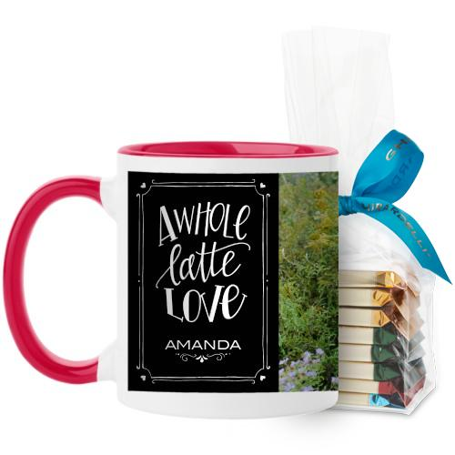 Whole Latte Love Mug, Red, with Ghirardelli Assorted Squares, 11 oz, Black