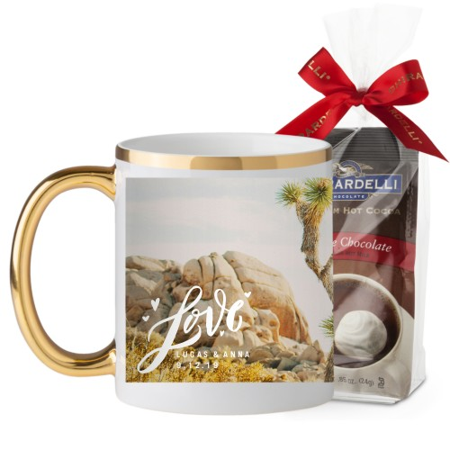 Full of Love Mug, Gold Handle, with Ghirardelli Premium Hot Cocoa, 11oz, White