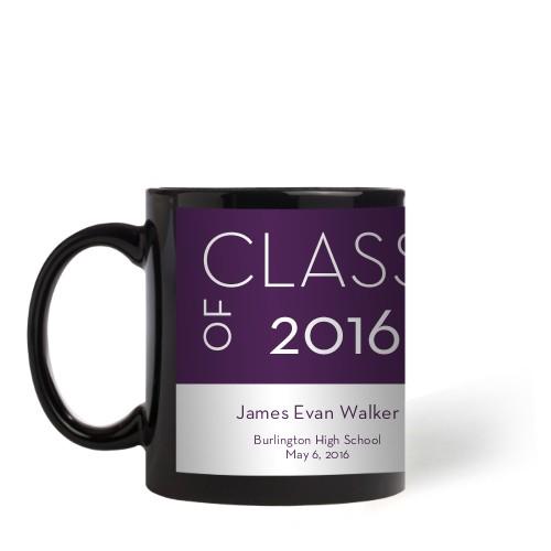 Modern Grad Mug, Black,  , 11 oz, Purple