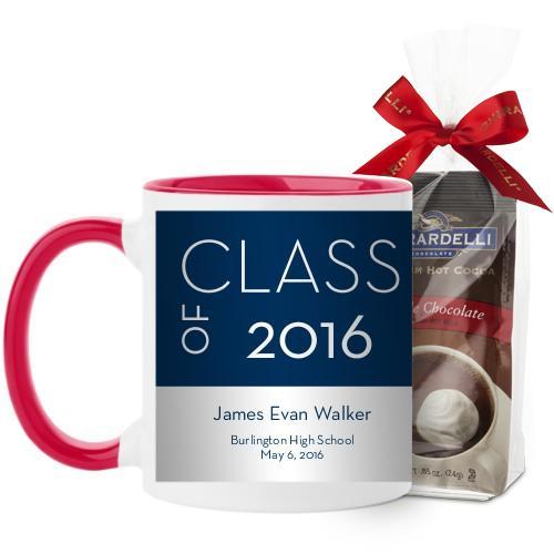 Modern Grad Mug, Red, with Ghirardelli Premium Hot Cocoa, 11 oz, Blue