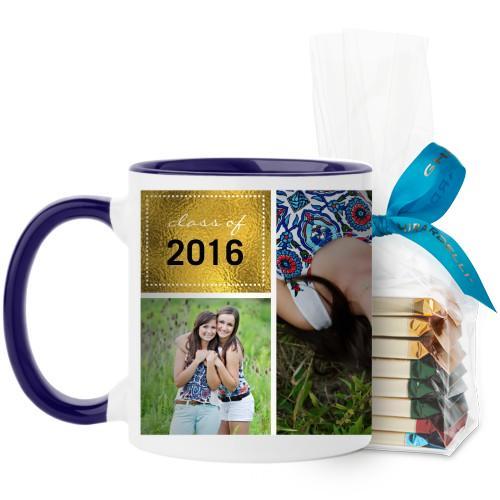 Shining Grad Mug, Blue, with Ghirardelli Assorted Squares, 11 oz, Black