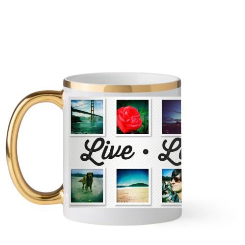Live Laugh Love Mug, Gold Handle,  , 11 oz, White