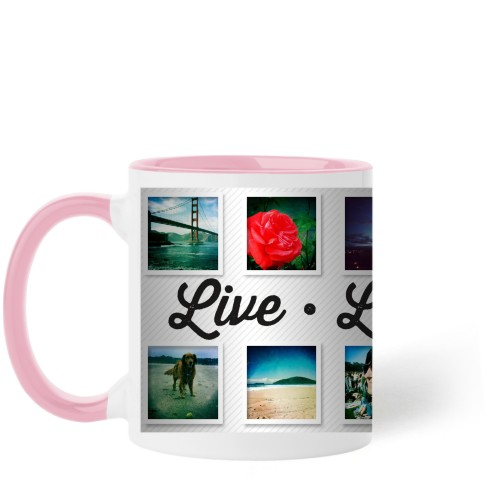 Live Laugh Love Mug, Pink,  , 11 oz, White