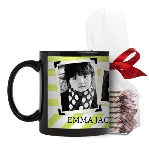 Watercolor Stripes Mug, Black, with Ghirardelli Peppermint Bark, 11 oz, Green