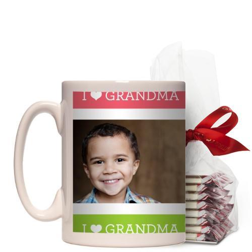 I Heart Grandma Mug, White, with Ghirardelli Peppermint Bark, 15 oz, Pink