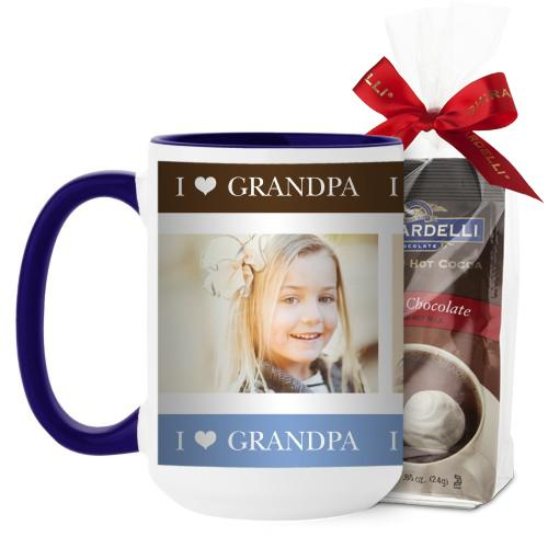 I Heart Grandpa Mug, Blue, with Ghirardelli Premium Hot Cocoa, 15 oz, Brown