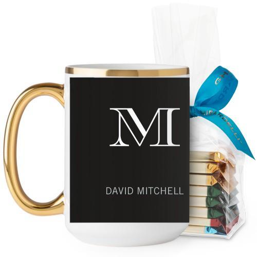 Monogram Black Mug, Gold Handle, with Ghirardelli Assorted Squares, 15 oz, Black