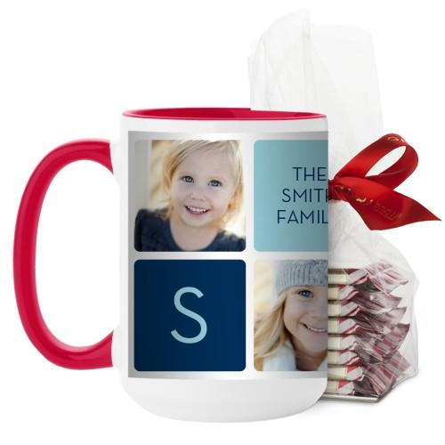 Rounded Square Mug, Red, with Ghirardelli Peppermint Bark, 15oz, White
