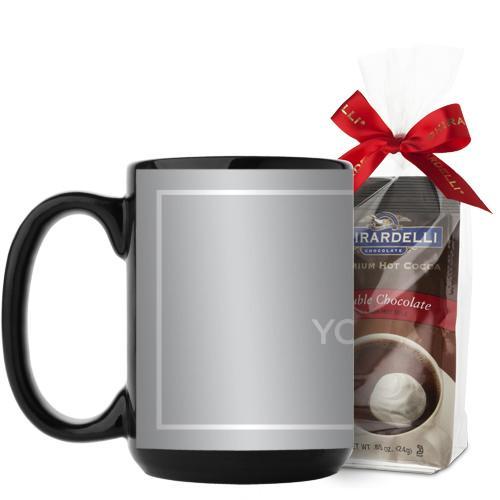 Upload Your Own Design Mug, Black, with Ghirardelli Premium Hot Cocoa, 15 oz, Multicolor
