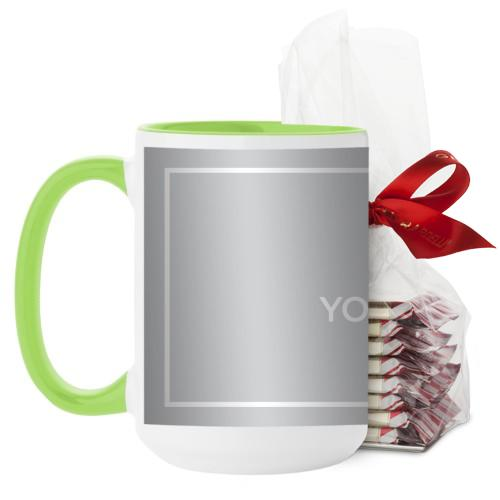 Upload Your Own Design Mug, Green, with Ghirardelli Peppermint Bark, 15 oz, Multicolor