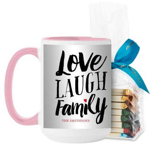 Love Laugh Family Mug, Pink, with Ghirardelli Assorted Squares, 15 oz, Grey