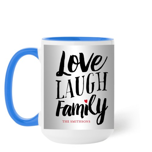 Love Laugh Family Mug, Light Blue,  , 15 oz, Grey