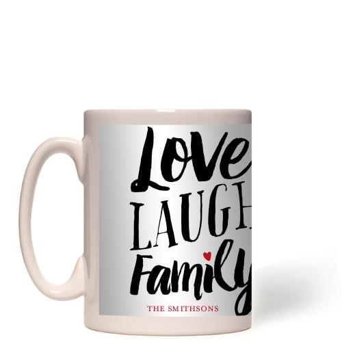 Love Laugh Family Mug, White,  , 15 oz, Grey
