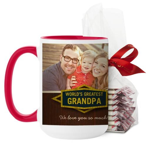 Classic Grandpa Mug, Red, with Ghirardelli Peppermint Bark, 15 oz, Brown