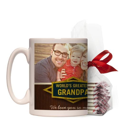 Classic Grandpa Mug, White, with Ghirardelli Peppermint Bark, 15 oz, Brown
