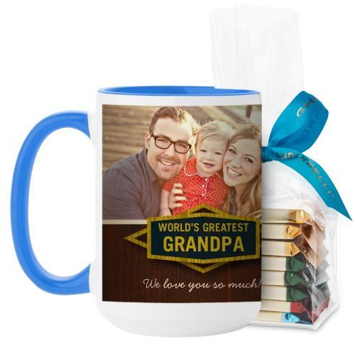 Classic Grandpa Mug, Light Blue, with Ghirardelli Assorted Squares, 15 oz, Brown