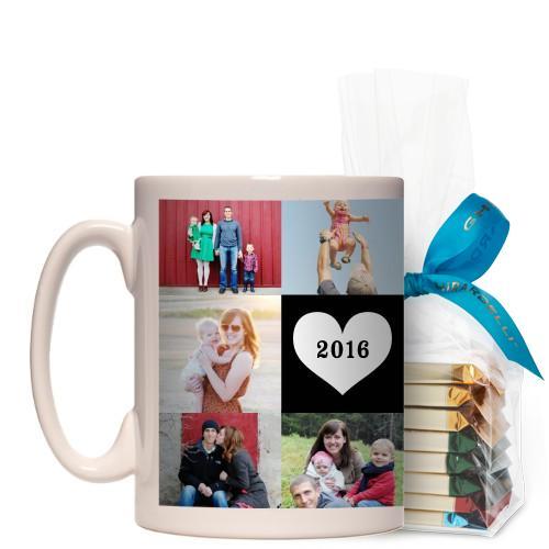 Love Grid Mug, White, with Ghirardelli Assorted Squares, 15 oz, Black