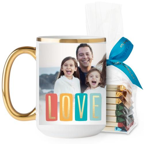 Colorful Love Mug, Gold Handle, with Ghirardelli Assorted Squares, 15oz, White