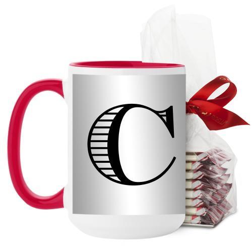 Initial Mug, Red, with Ghirardelli Peppermint Bark, 15 oz, White